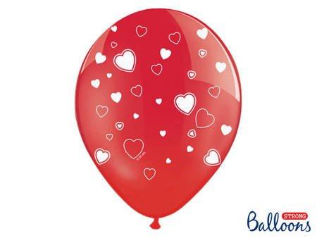 Balony 30 cm - Serca - Czerwone - Crystal Poppy Red - 6 szt.
