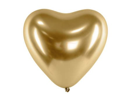 Balony Glossy 30 cm - Serca - złote - 50 szt.