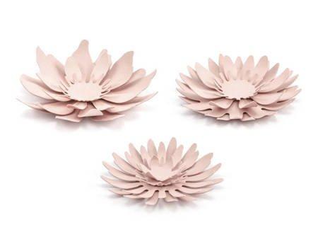 Dekoracje - Papierowe kwiaty - pudrowy róż - 3 szt.