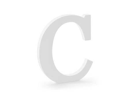 Drewniana litera C - 17 x 20 cm - biały