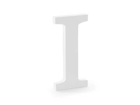 Drewniana litera I - 9,5 x 20 cm - biały