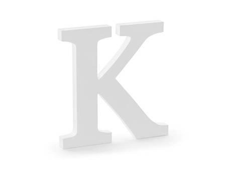 Drewniana litera K - 19,5 x 20 cm - biały