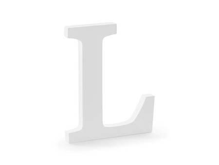 Drewniana litera L - 16 x 20 cm - biały