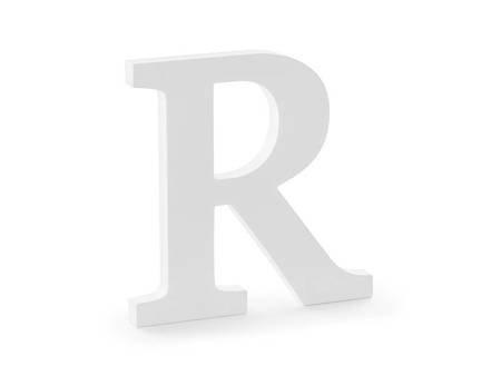 Drewniana litera R - 19,5 x 20 cm - biały