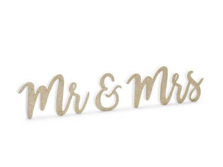 Drewniany napis Mr & Mrs - 50 x 10 cm - złoty