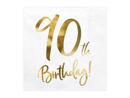 Serwetki 90th Birthday - 90 urodziny - białe - 33x33cm - 20 szt.