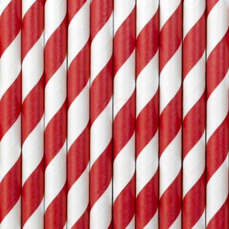 Słomki papierowe - czerwone - 19,5 cm - 10 szt.