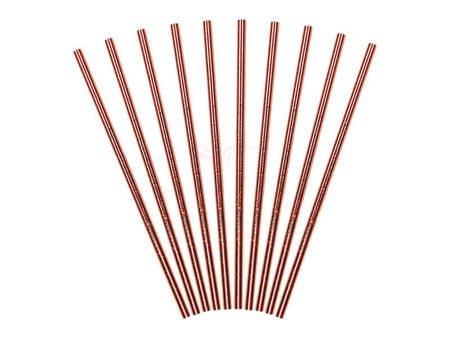 Słomki papierowe - różowe złoto - 19.5 cm - 10 szt.