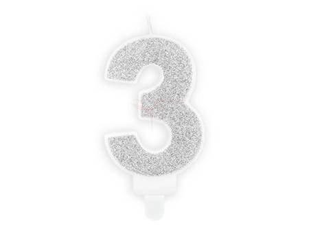 Świeczka urodzinowa Cyferka 3 - trzy - srebrna - 7 cm