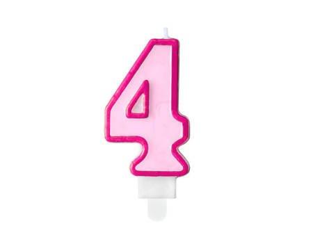 Świeczka urodzinowa Cyferka 4 - cztery - różowa - 7 cm
