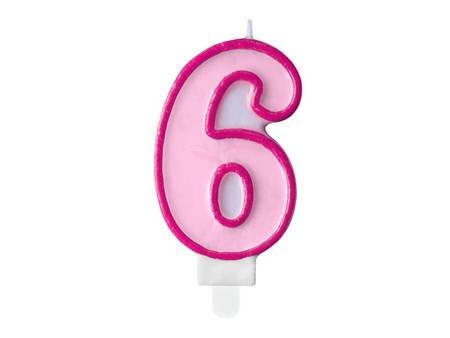 Świeczka urodzinowa Cyferka 6 - sześć - różowa - 7 cm