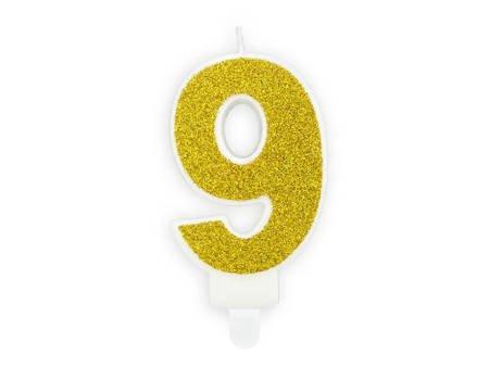 Świeczka urodzinowa Cyferka 9 - dziewięć - złota - 7 cm