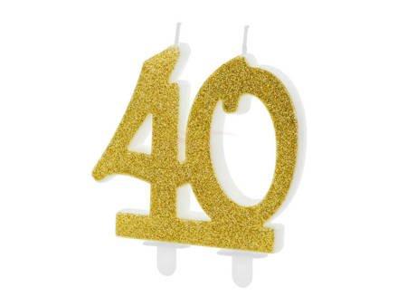 Świeczka urodzinowa liczba 40 - złota - 7.5 cm
