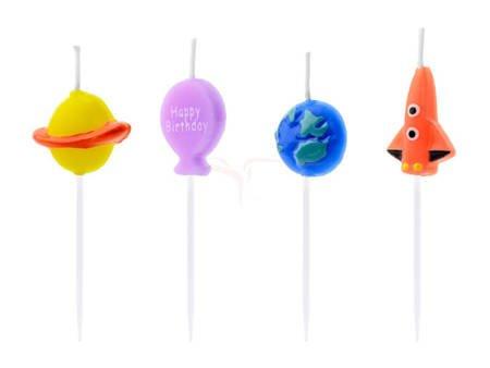 Świeczki urodzinowe Kosmos mix - 2-3 cm - 4 szt.