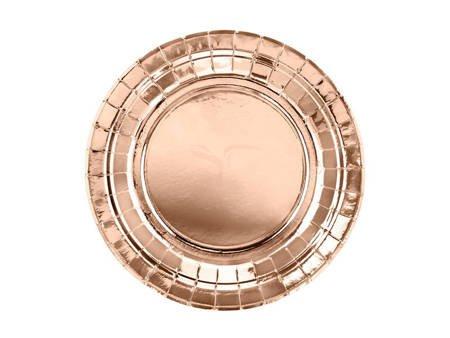 Talerzyki okrągłe - różowe złoto - 18 cm - 6 szt.