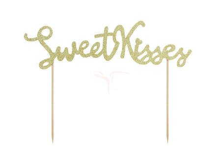 Topper na tort Sweet Love - Sweet Kisses - Złoty