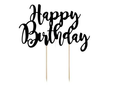 Topper na tort napis Happy Birthday - czarny - 22.5cm