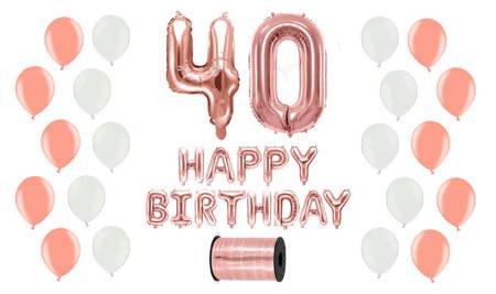 Zestaw Balonów na 40 urodziny - różowe złoto z białymi akcentami
