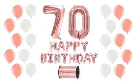 Zestaw Balonów na 70 urodziny - różowe złoto z białymi akcentami