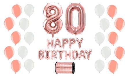Zestaw Balonów na 80 urodziny - różowe złoto z białymi akcentami